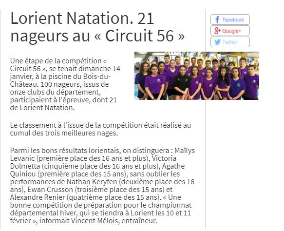 Telegramme Du 17 01 2018 Lorient Natation